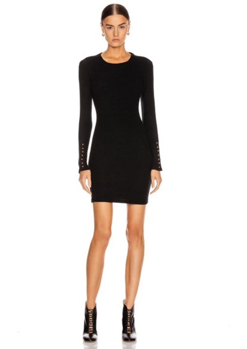 Enza Costa Sweater Knit Button Cuff Mini Dress