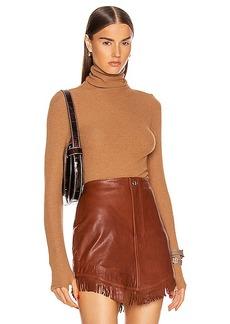 Enza Costa Sweater Knit Long Sleeve Turtleneck Top