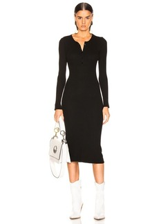 Enza Costa Thermal Long Sleeve Henley Dress