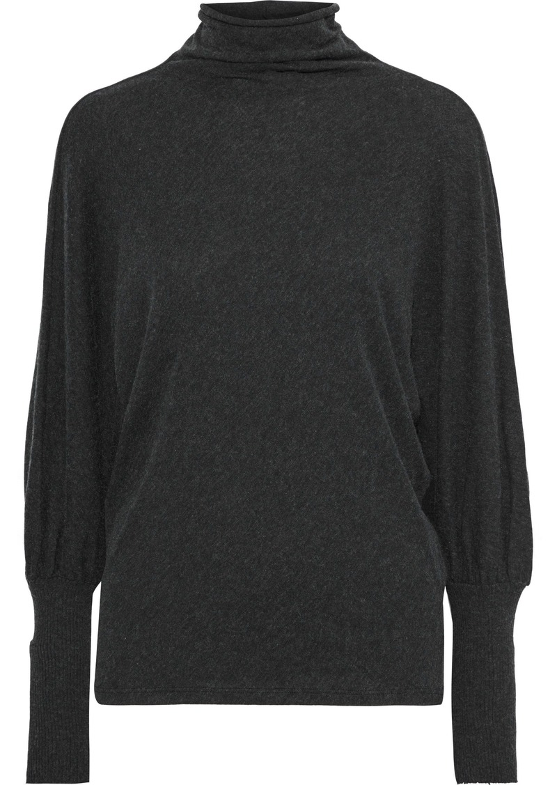 Enza Costa Woman Brushed Cotton And Cashmere-blend Turtleneck Top Charcoal