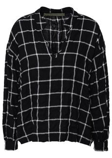 Enza Costa Woman Checked Cotton-blend Flannel Blouse Black