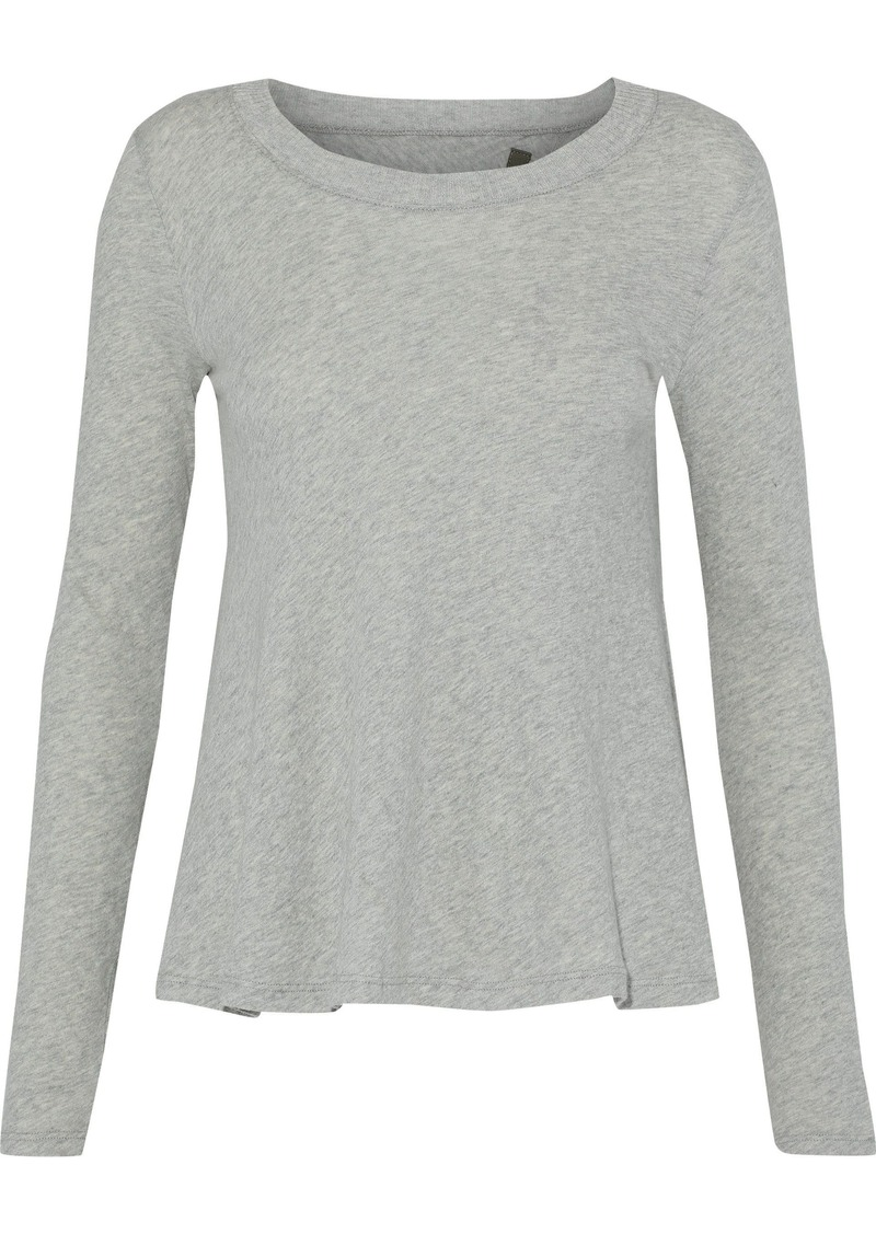 Enza Costa Woman Split-back Cotton And Cashmere-blend Top Gray