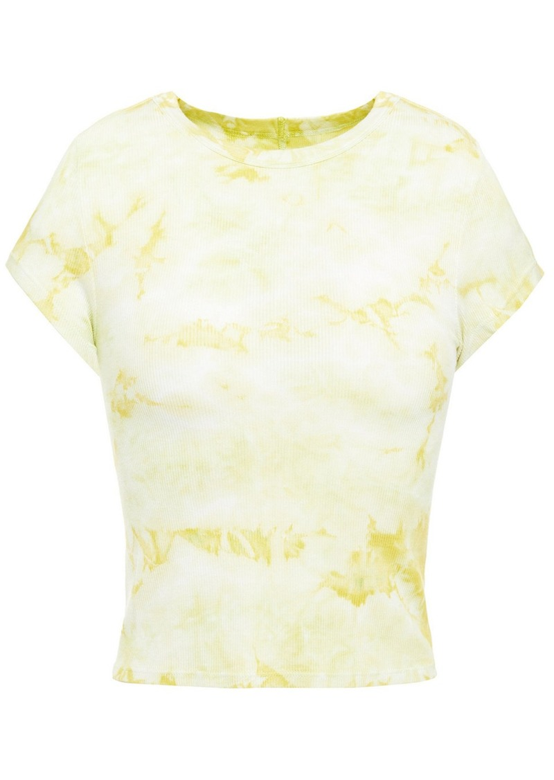 Enza Costa Woman Cropped Tie-dyed Ribbed Jersey T-shirt Pastel Yellow