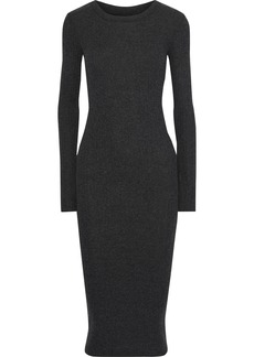 Enza Costa Woman Cutout Ribbed Modal-blend Midi Dress Charcoal