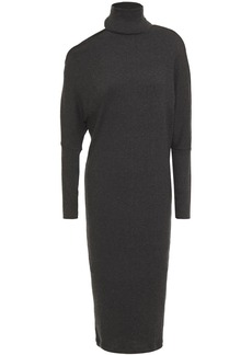 Enza Costa Woman Cutout Ribbed Modal-blend Turtleneck Dress Charcoal