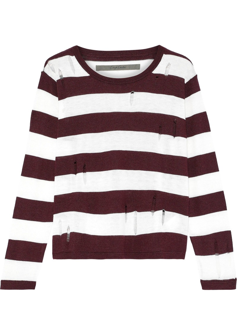 Enza Costa Woman Distressed Striped Knitted Sweater White