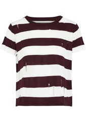 Enza Costa Woman Distressed Striped Knitted Top Merlot
