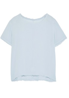 Enza Costa Woman Frayed Crepe Top Sky Blue
