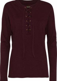 Enza Costa Woman Lace-up Mélange Cotton And Cashmere-blend Top Burgundy