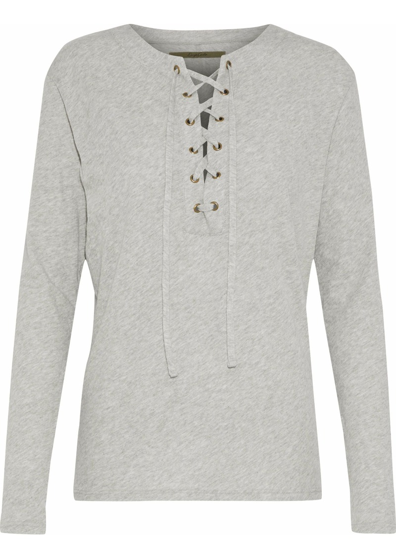 Enza Costa Woman Lace-up Mélange Cotton And Cashmere-blend Top Light Gray