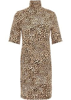 Enza Costa Woman Leopard-print Stretch-jersey Turtleneck Mini Dress Animal Print