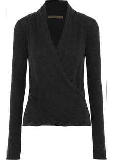 Enza Costa Woman Wrap-effect Cotton And Cashmere-blend Top Charcoal