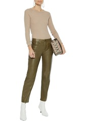 Enza Costa Woman Mélange Waffle-knit Cotton And Cashmere-blend Top Sand