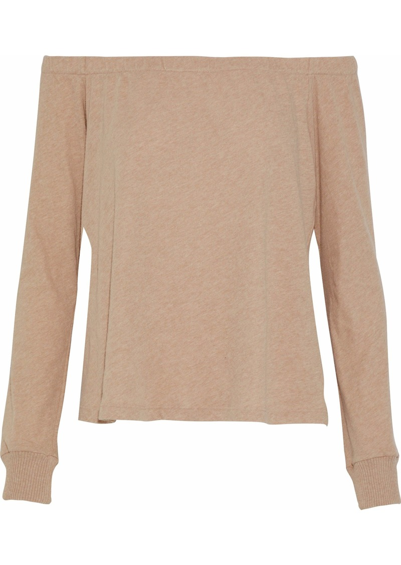 Enza Costa Woman Off-the-shoulder Cotton And Cashmere-blend Jersey Top Neutral