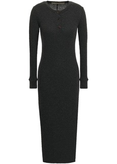 Enza Costa Woman Ribbed Cotton And Cashmere-blend Midi Dress Charcoal