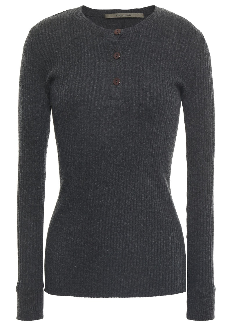 Enza Costa Woman Ribbed Cotton And Cashmere-blend Top Dark Gray