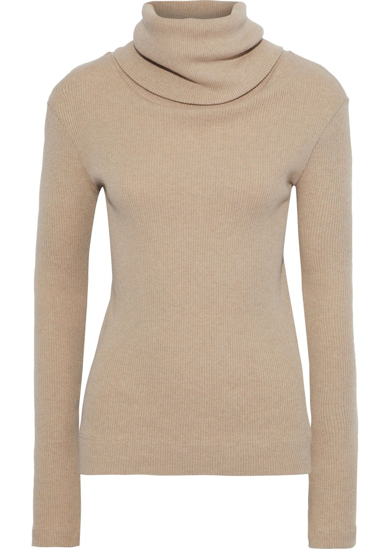 Enza Costa Woman Ribbed Cotton And Cashmere-blend Turtleneck Top Sand