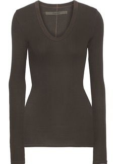 Enza Costa Woman Ribbed Stretch-jersey Top Forest Green