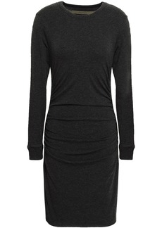 Enza Costa Woman Ruched Stretch Cotton And Cashmere-blend Mini Dress Charcoal