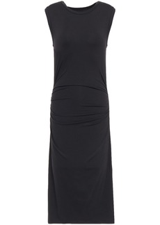 Enza Costa Woman Ruched Jersey Midi Dress Black
