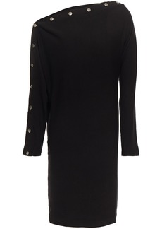 Enza Costa Woman Snap-detailed Stretch-jersey Mini Dress Black
