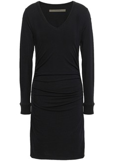Enza Costa Woman Stretch Cotton And Cashmere-blend Mini Dress Black