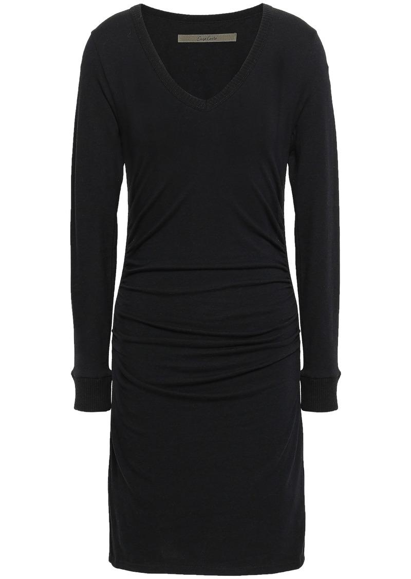 Enza Costa Woman Stretch Cotton And Cashmere-blend Mini Dress Black