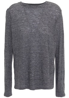 Enza Costa Woman Striped Cotton Top Anthracite