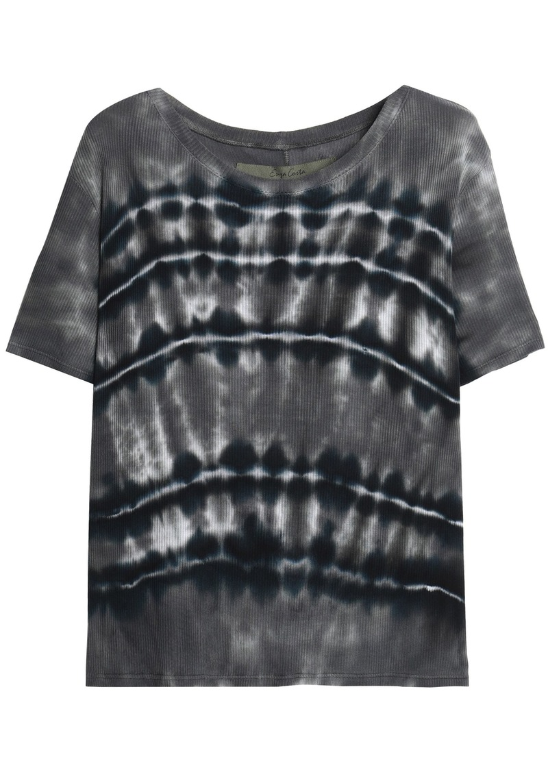 Enza Costa Woman Tie-dyed Ribbed Jersey T-shirt Gray