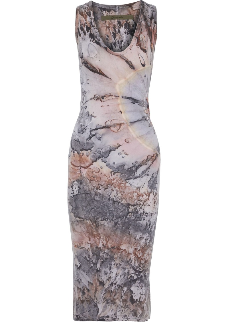 Enza Costa Woman Tie-dyed Stretch-pima Cotton Jersey Midi Dress Anthracite