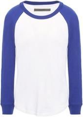 Enza Costa Woman Two-tone Slub Cotton And Cashmere-blend Jersey Top White