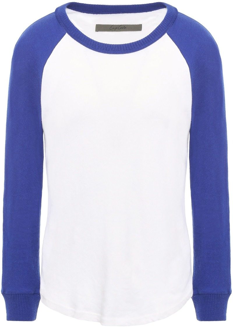 Enza Costa Woman Two-tone Slub Cotton And Cashmere-blend Jersey Top White