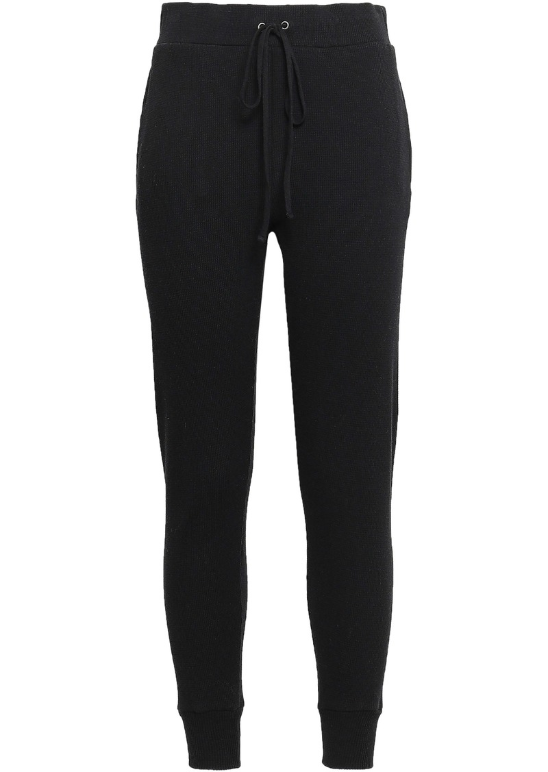 Enza Costa Woman Waffle-knit Cotton And Cashmere-blend Track Pants Black