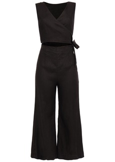Enza Costa Woman Wrap-effect Cropped Cutout Flax Jumpsuit Black