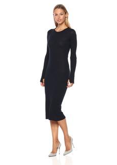Enza Costa Women's Cashmere Cuffed Back Drape Midi Dress  XS
