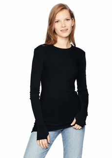 Enza Costa Women's Cashmere Cuffed Long Sleeve Motop Crew Top  XS