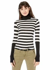 Enza Costa Women's Cashmere Cuffed Long Sleeve Turtleneck Top  L
