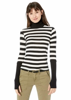 Enza Costa Women's Cashmere Cuffed Long Sleeve Turtleneck Top  S