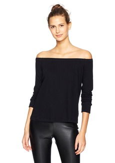 Enza Costa Women's Cashmere Jersey Long Sleeve Off The Shoulder Top  L