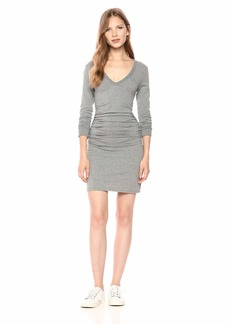 Enza Costa Women's Cashmere Long Sleeve Crew Side Ruched Mini Dress  M