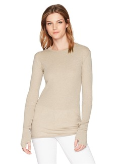 Enza Costa Women's Cashmere Long Sleeve Cuffed Crew Top with Thumbhole  L