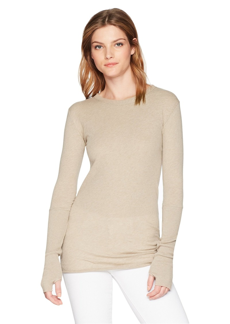 Enza Costa Women/'s Cashmere Thermal Long Sleeve Cuffed Crew Top with Thumbholes