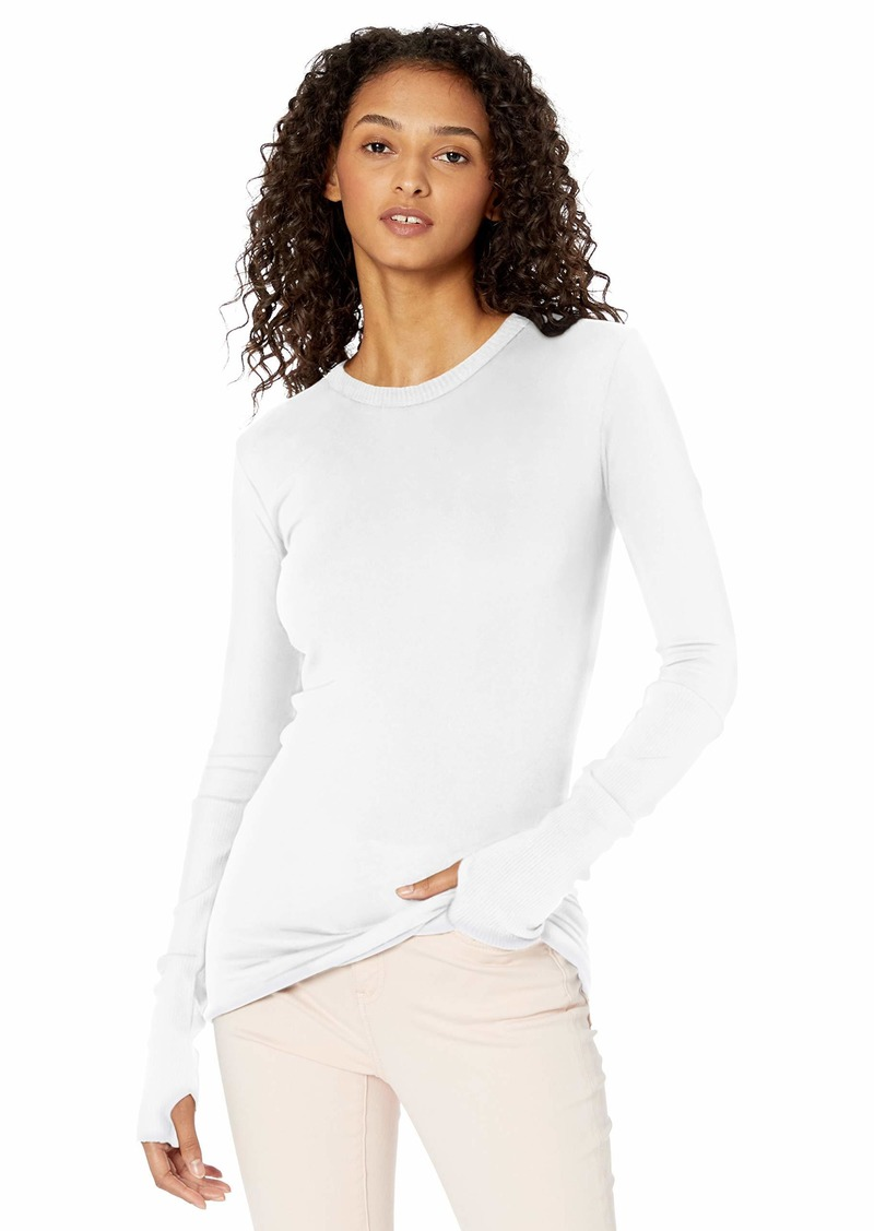 Enza Costa Women's Cashmere Long Sleeve Cuffed Crew with Thumbhole  L