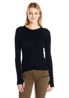 Enza Costa Women's Cashmere Long Sleeve Cuffed Crew With Thumbhole  XS