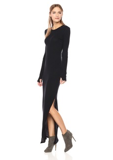 Enza Costa Women's Cashmere Long Sleeve Side Slit Maxi Dress  S