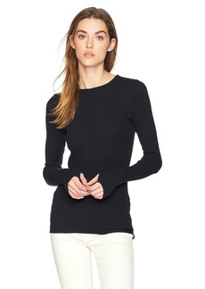 Enza Costa Women's Cashmere Thermal Cuffed Crew Top  L
