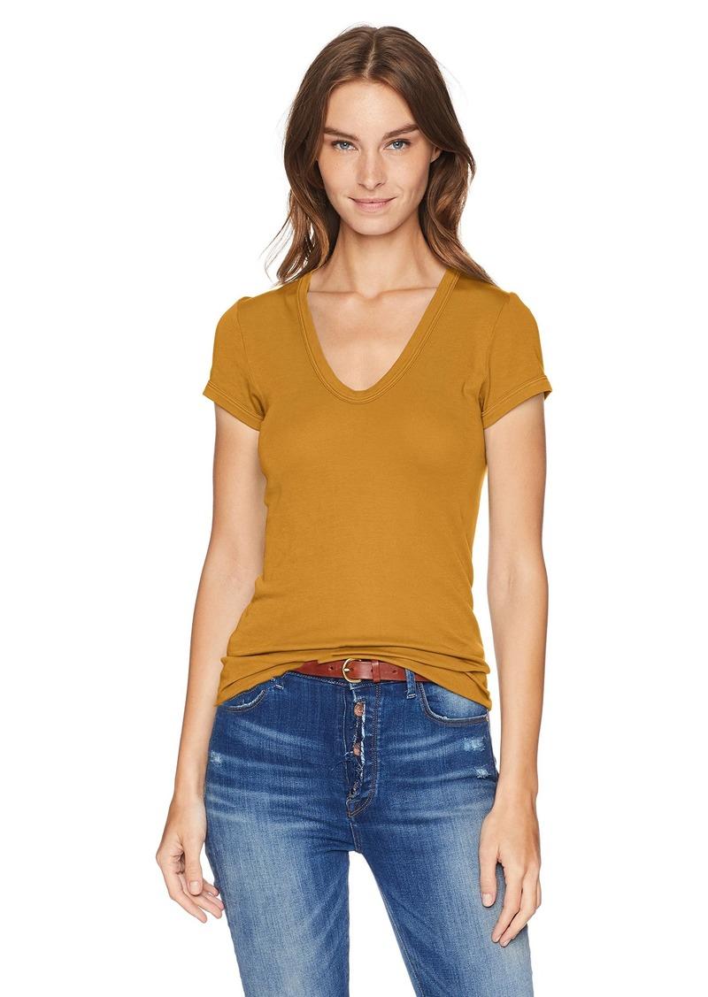 Enza Costa Women's Island Cotton Cap Sleeve U-Neck T-Shirt  M