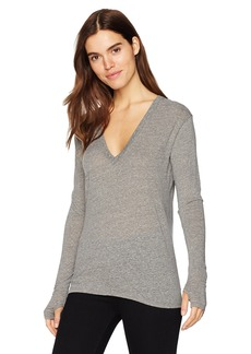 Enza Costa Women's Long Sleeve Loose V-Neck Top  M