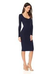 Enza Costa Women's Long Sleeve Scoop Neck Knee Length Dress  M