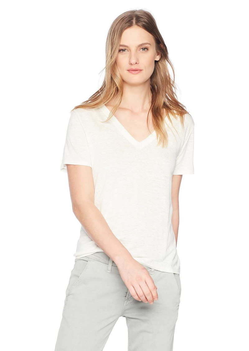 Enza Costa Women's Loose Short Sleeve V-Neck Linen T-Shirt  S